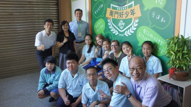 Guests and the eco-team of Nanmen Junior High school